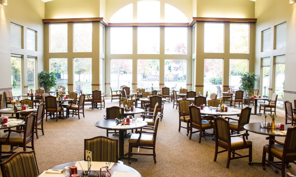 Dining hall with a large window at Evergreen Senior Living in Eugene, Oregon