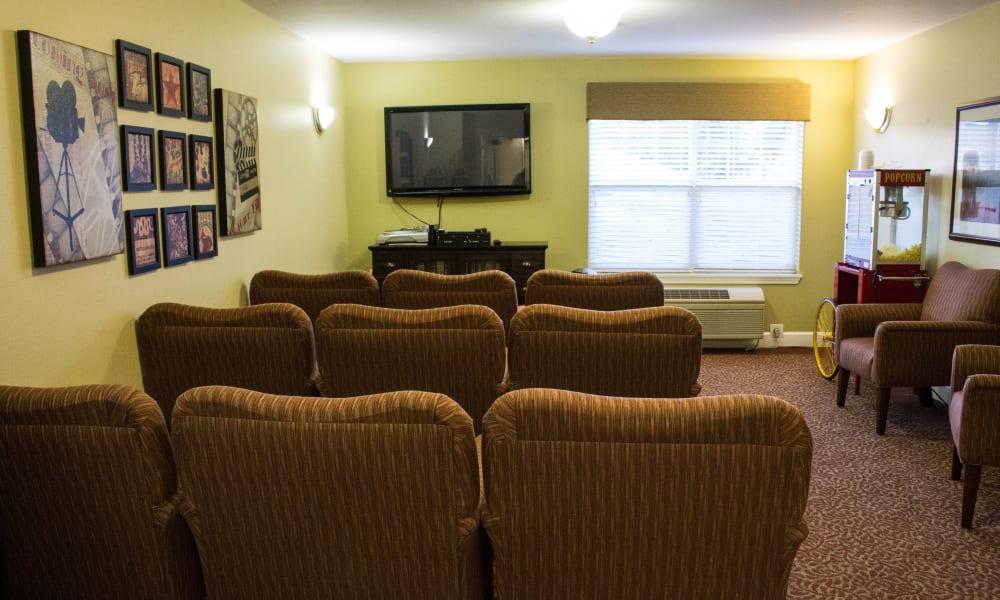 Media Room at Woodside Senior Living in Springfield, Oregon