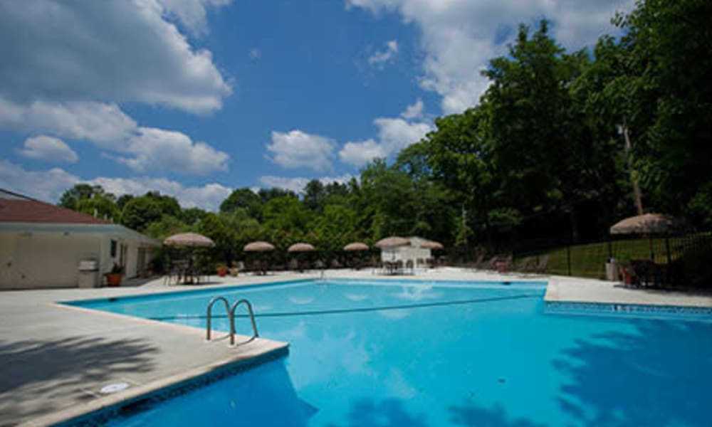 Resort-style swimming pool at Willowbrook Apartments in Jeffersonville, Pennsylvania