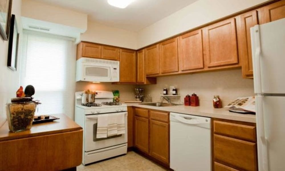 Fully equipped kitchen at Willowbrook Apartments in Jeffersonville, Pennsylvania