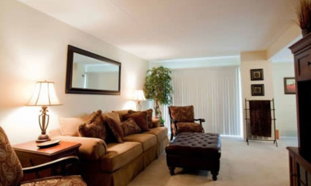 Model living room at Willowbrook Apartments in Jeffersonville, Pennsylvania