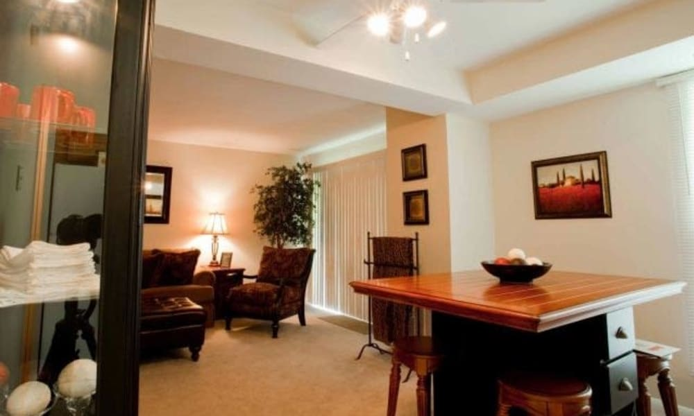 Dining room table at Willowbrook Apartments in Jeffersonville, Pennsylvania