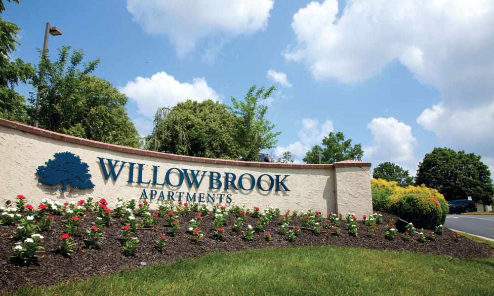 Sign to Willowbrook Apartments in Jeffersonville, Pennsylvania
