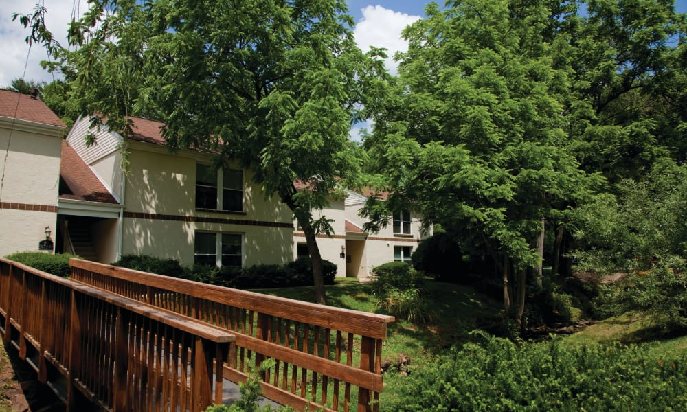 Lush landscape of Willowbrook Apartments in Jeffersonville, Pennsylvania