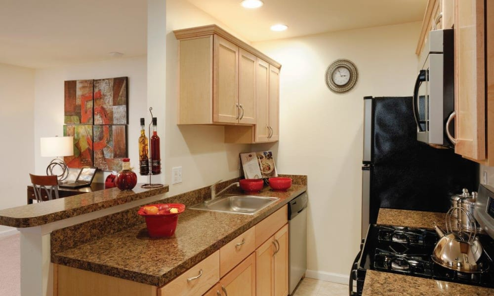 Bright kitchen at Hill Brook Place Apartments in Bensalem, Pennsylvania