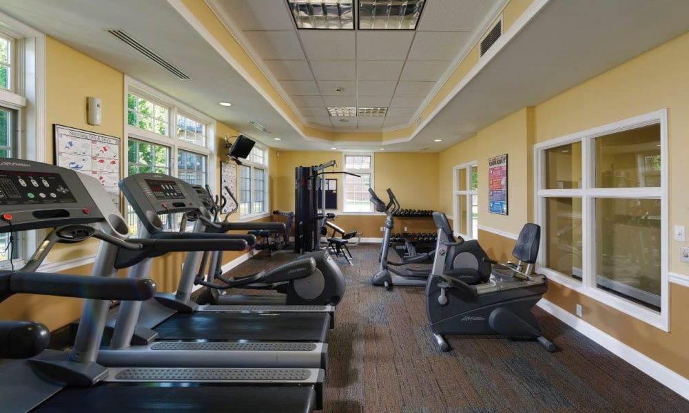 Hill Brook Place Apartments offers a fitness center for residents in Bensalem, Pennsylvania