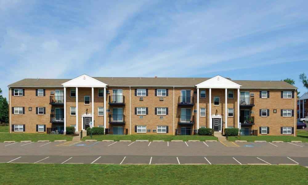 Exterior of Hill Brook Place Apartments's building in Bensalem, Pennsylvania