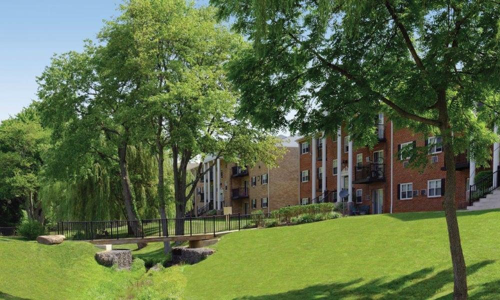 Beautiful landscaping at Hill Brook Place Apartments in Bensalem, Pennsylvania