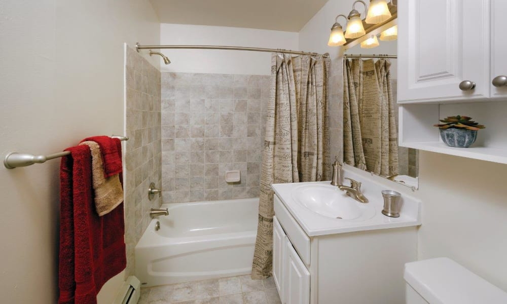 Large bathroom at Hill Brook Place Apartments in Bensalem, Pennsylvania
