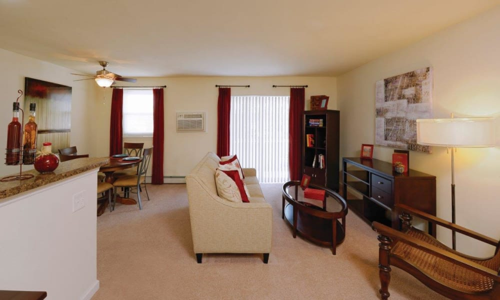 Spacious floor plan at Hill Brook Place Apartments in Bensalem, Pennsylvania