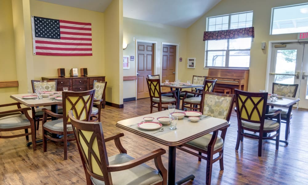The community dining room at Rosewood Memory Care in Hillsboro, Oregon