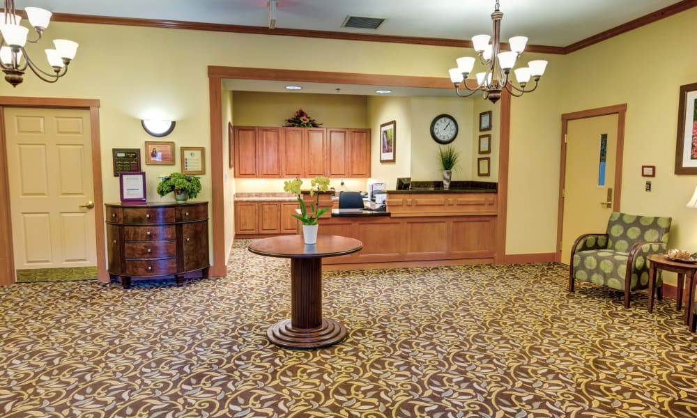 The lobby and reception desk at Rosewood Memory Care in Hillsboro, Oregon
