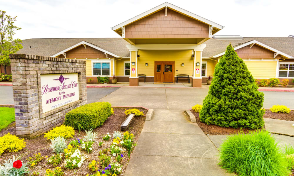 Branding and signage in front of Rosewood Memory Care in Hillsboro, Oregon