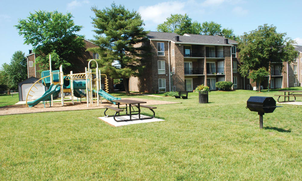 Outdoor picnic area at East Meadow Apartments in Fairfax, Virginia