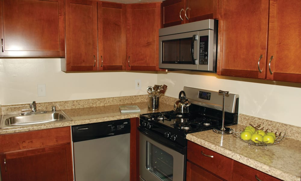 Stainless steel appliances at East Meadow Apartments in Fairfax, Virginia