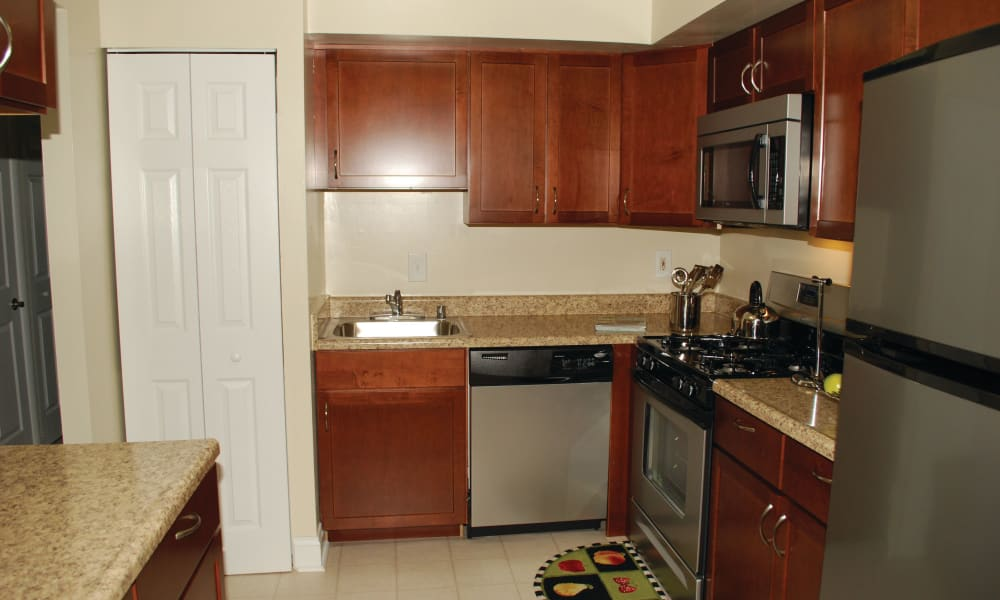Bright kitchen at East Meadow Apartments in Fairfax, Virginia