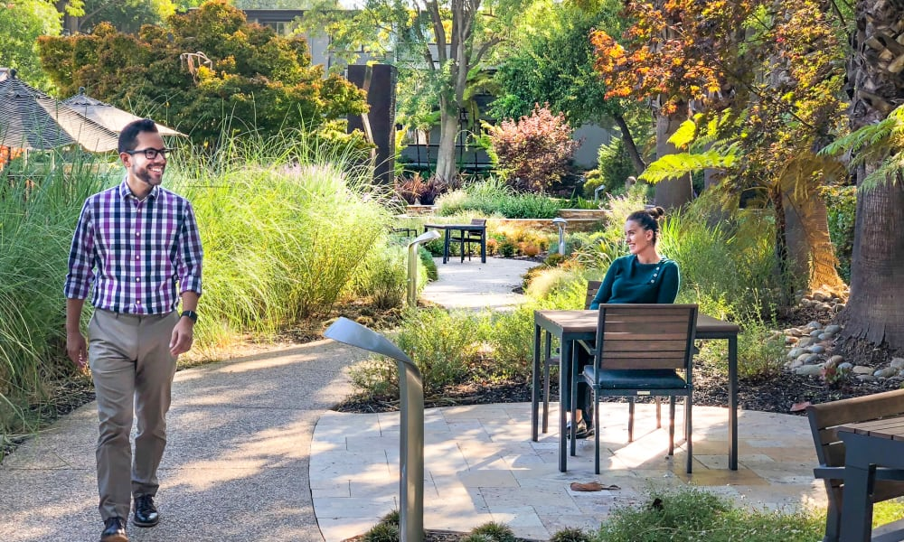Residents enjoying the outdoors at Palo Alto Plaza in Mountain View, California