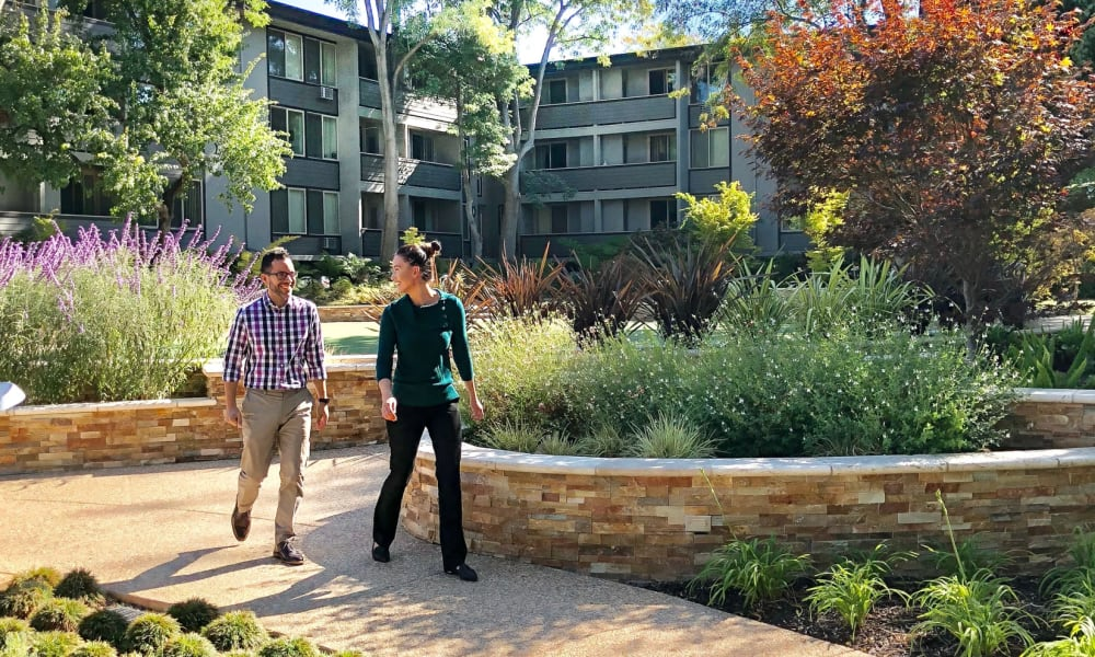 Residents enjoying Palo Alto Plaza' stunning walking path in Mountain View, California