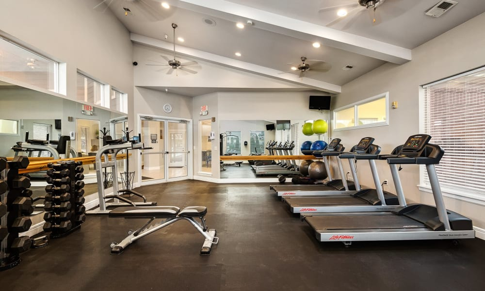 24-hour fitness center at Cornerstone Apartments in Independence, Missouri.