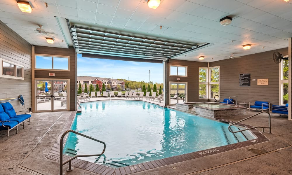 Indoor-outdoor resident pool at Cornerstone Apartments in Independence, Missouri.