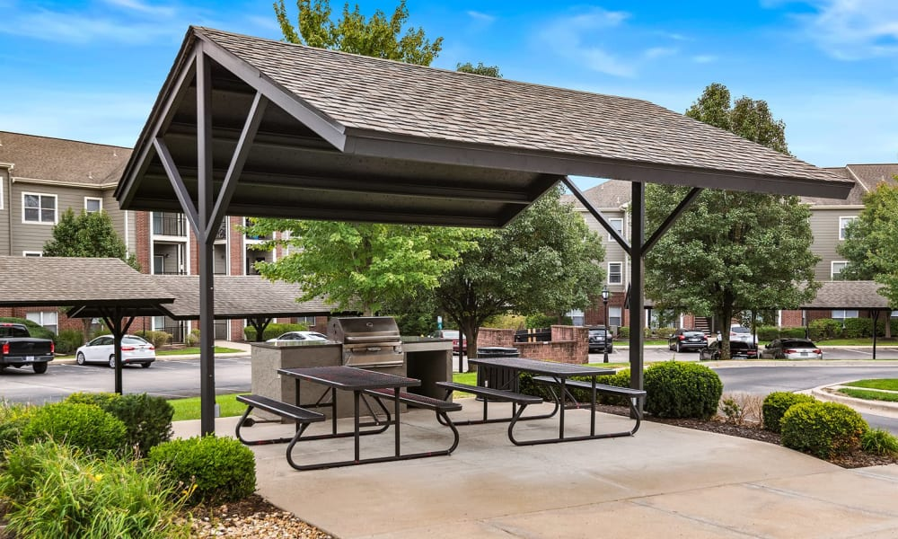 Outdoor grill station at Cornerstone Apartments in Independence, Missouri.