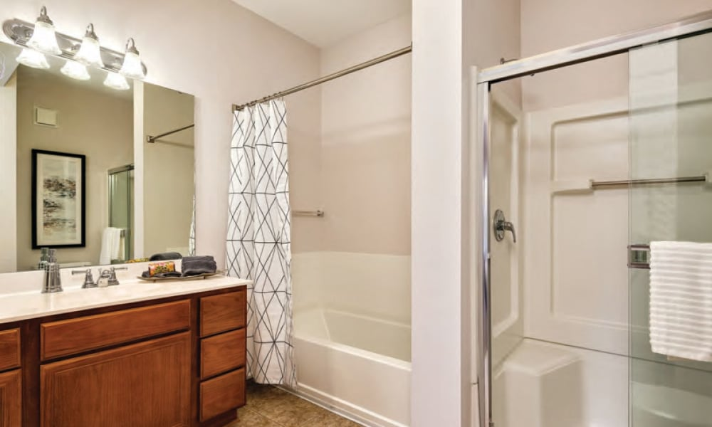 Large bathrooms at Cornerstone Apartments in Independence, Missouri.
