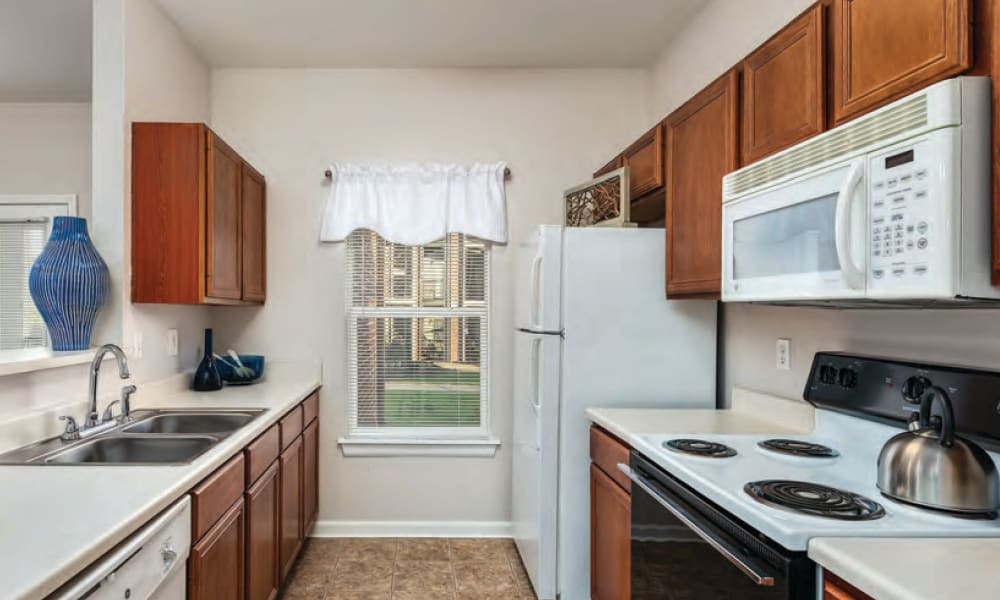 Full kitchens at Cornerstone Apartments in Independence, Missouri.