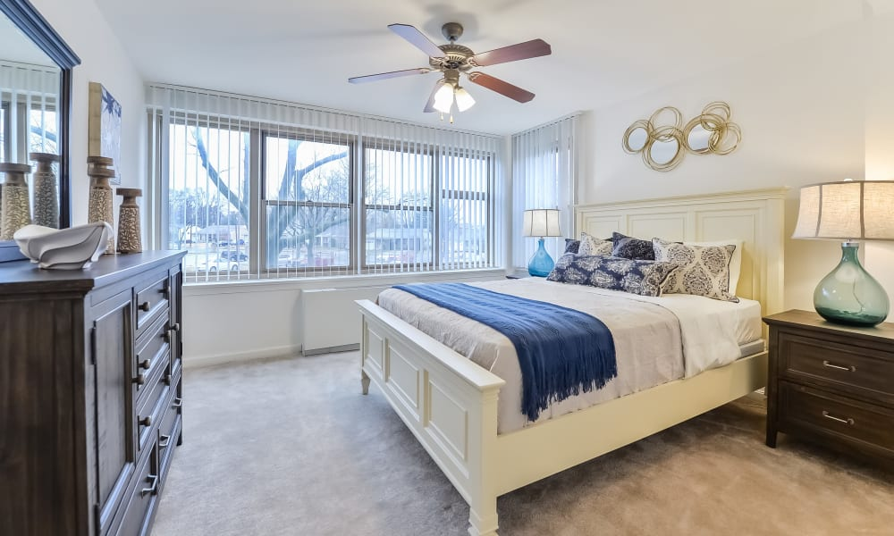 Naturally well-lit bedroom at Parkview at Collingswood Apartment Homes in Collingswood, New Jersey