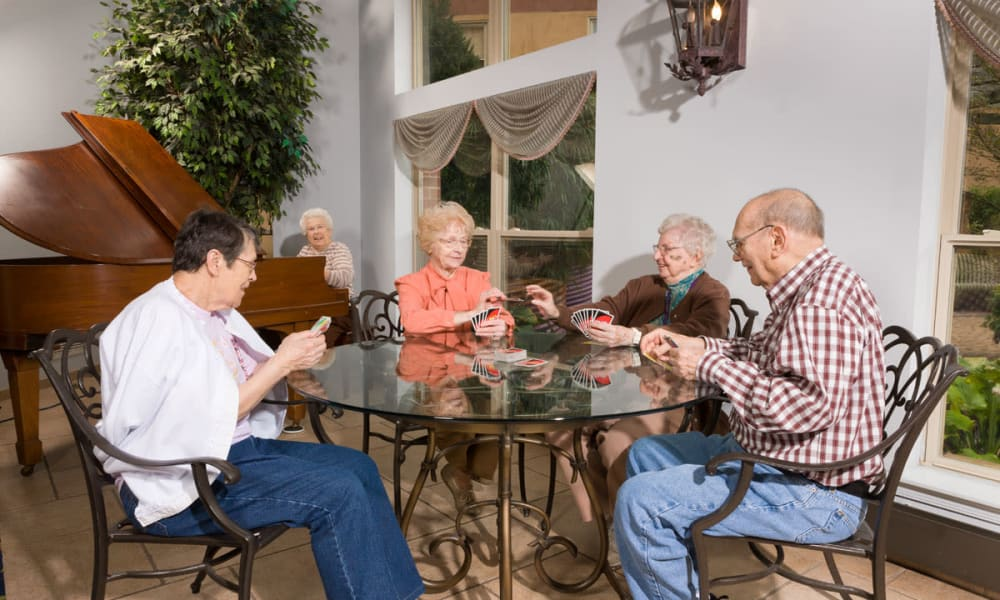 Residents sharing a meal at The Manor at Market Square in Reading, Pennsylvania