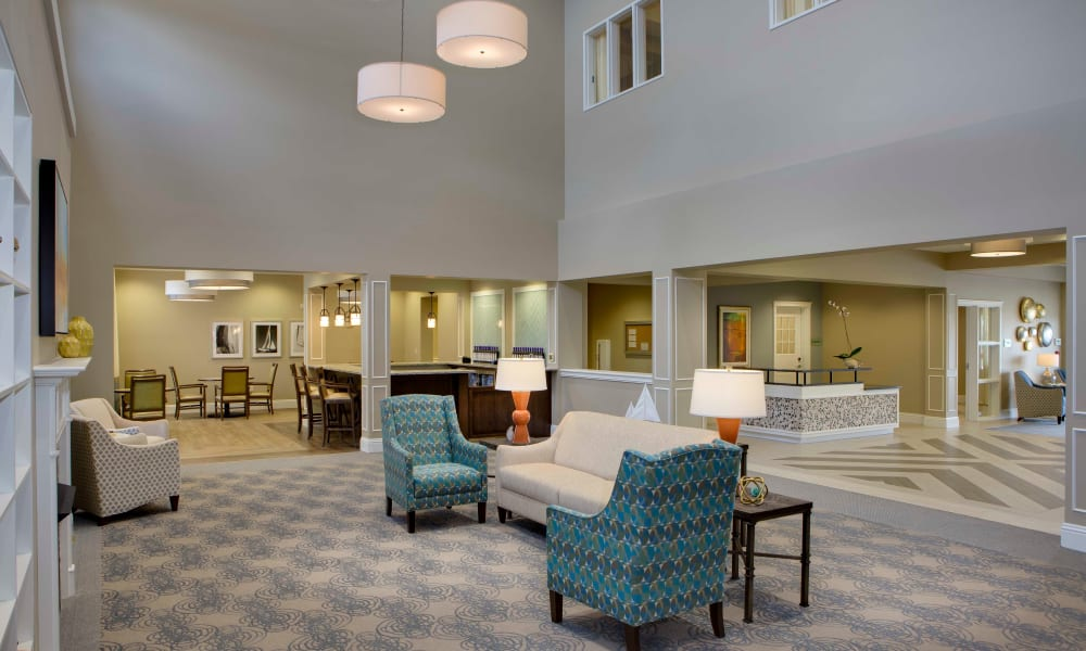 Seating in the main common area at Beach House Assisted Living & Memory Care Naples in Naples, Florida