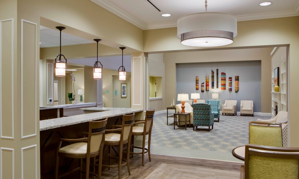 Lounge area at Beach House Assisted Living & Memory Care Naples in Naples, Florida