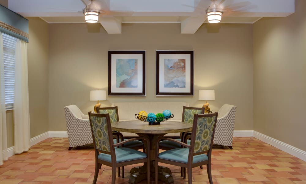 Private dining entertaining area at Beach House Assisted Living & Memory Care Naples in Naples, Florida
