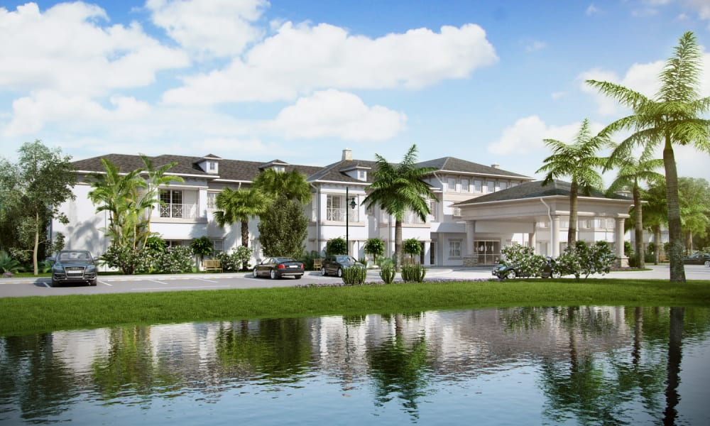 Lakeside view of Beach House Assisted Living & Memory Care Naples in Naples, Florida during the day