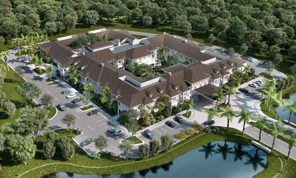 Aerial view of Beach House Assisted Living & Memory Care Naples in Naples, Florida