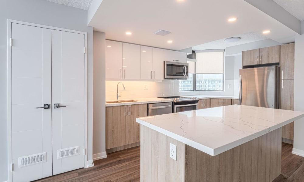 Kitchen island at 8 Silver Maple Court in Brampton, Ontario
