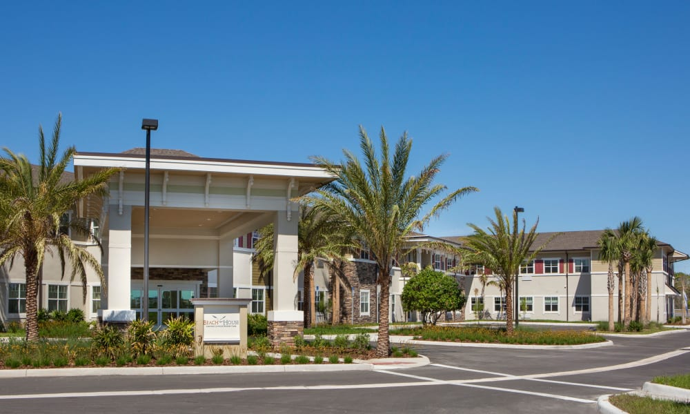 Entrance of Beach House Assisted Living & Memory Care at Wiregrass Ranch in Wesley Chapel, Florida