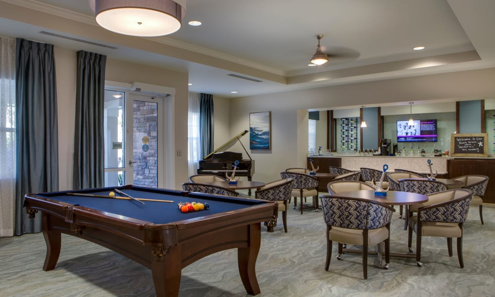 Game room at Beach House Assisted Living & Memory Care at Wiregrass Ranch in Wesley Chapel, Florida