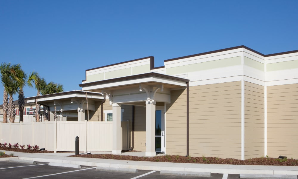 Rear entry to Beach House Assisted Living & Memory Care at Wiregrass Ranch in Wesley Chapel, Florida
