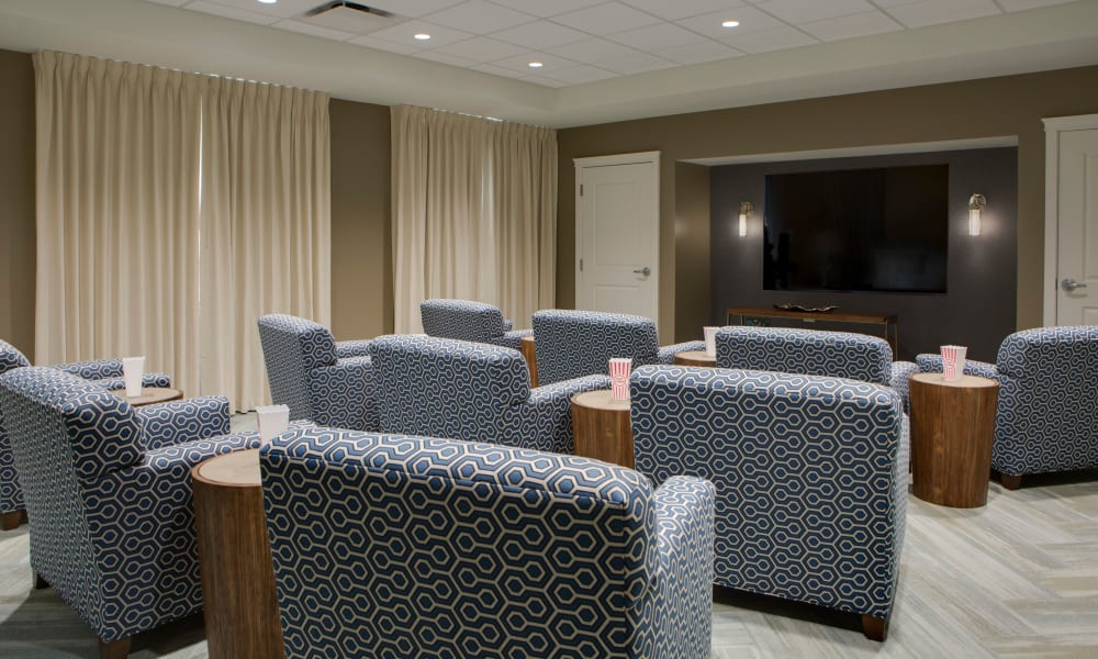 TV room at Beach House Assisted Living & Memory Care at Wiregrass Ranch in Wesley Chapel, Florida
