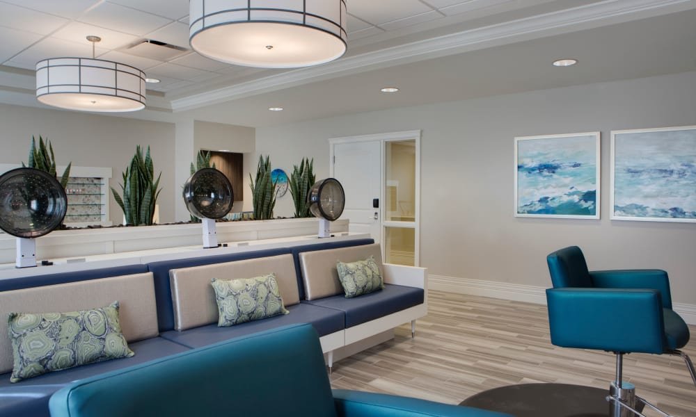 Hair salon at Beach House Assisted Living & Memory Care at Wiregrass Ranch in Wesley Chapel, Florida