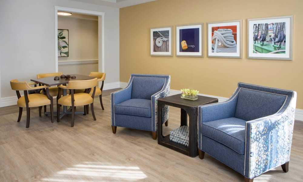 Community area at Beach House Assisted Living & Memory Care at Wiregrass Ranch in Wesley Chapel, Florida