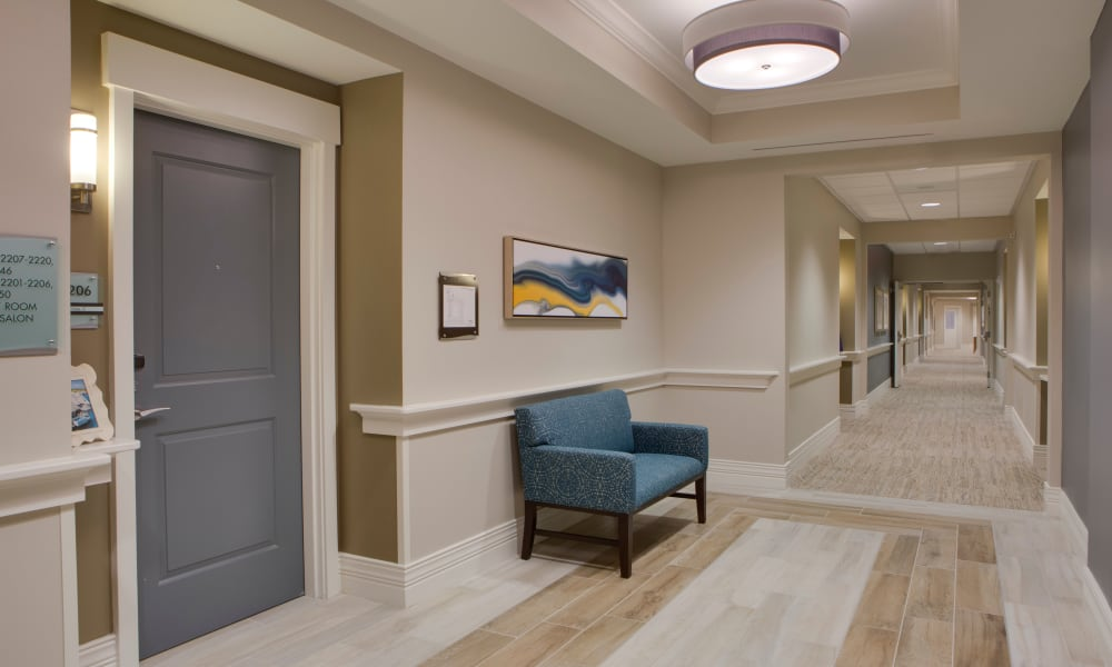 Light and bright hallways at Beach House Assisted Living & Memory Care at Wiregrass Ranch in Wesley Chapel, Florida