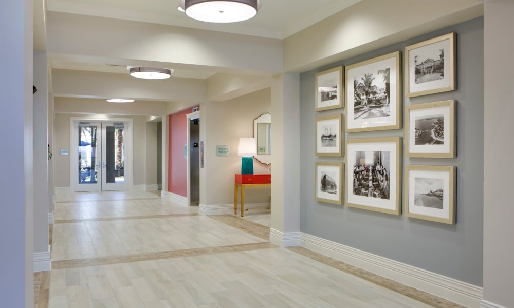 Main connecting hallway at Beach House Assisted Living & Memory Care at Wiregrass Ranch in Wesley Chapel, Florida