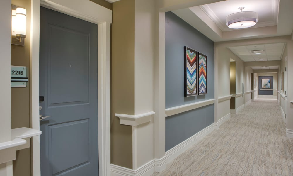 Hallway in the residences at Beach House Assisted Living & Memory Care at Wiregrass Ranch in Wesley Chapel, Florida