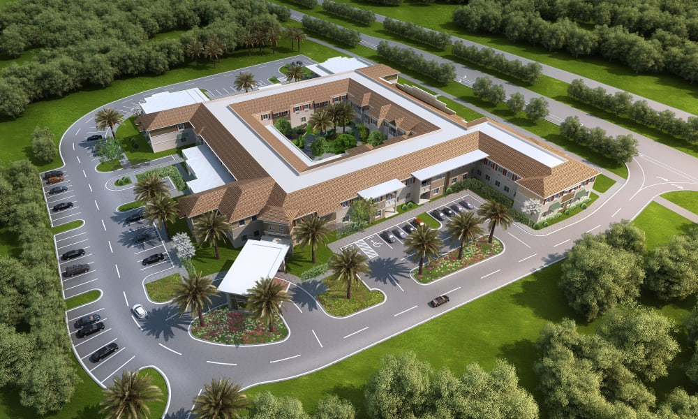 Aerial view of Beach House Assisted Living & Memory Care at Wiregrass Ranch in Wesley Chapel, Florida