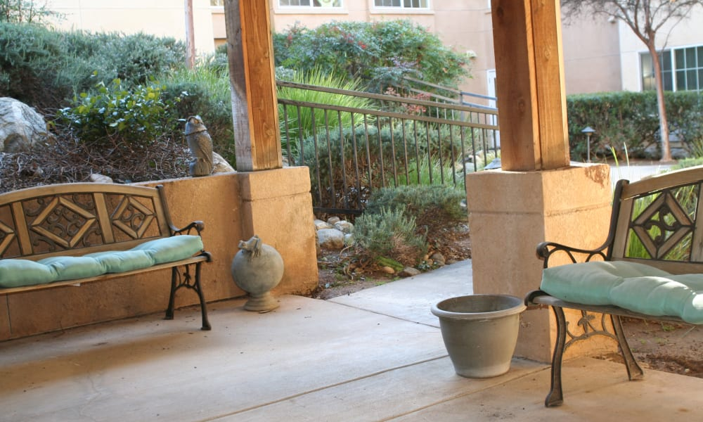 Outdoor seating at Wildwood Canyon Villa Assisted Living and Memory Care in Yucaipa, California