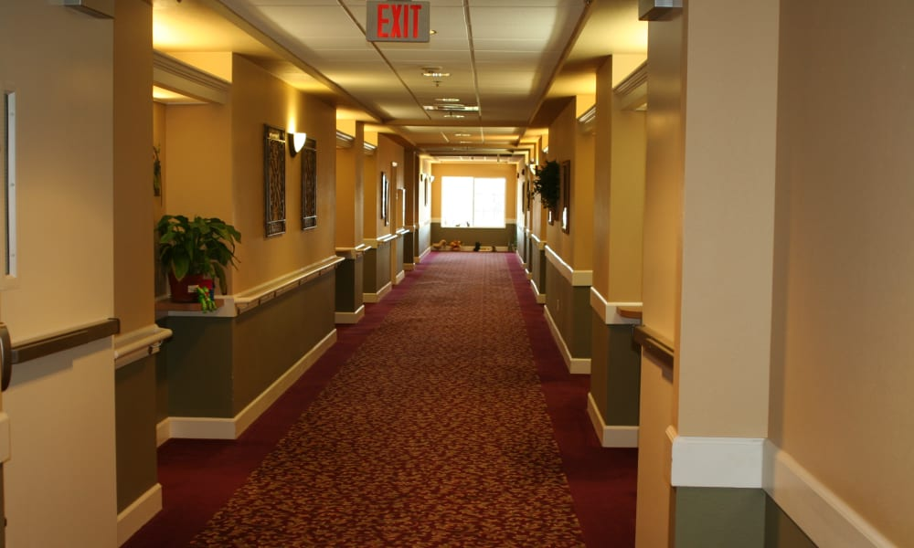 Resident hallway at Wildwood Canyon Villa Assisted Living and Memory Care in Yucaipa, California