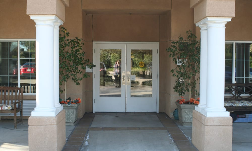 Entryway with columns at Wildwood Canyon Villa Assisted Living and Memory Care in Yucaipa, California