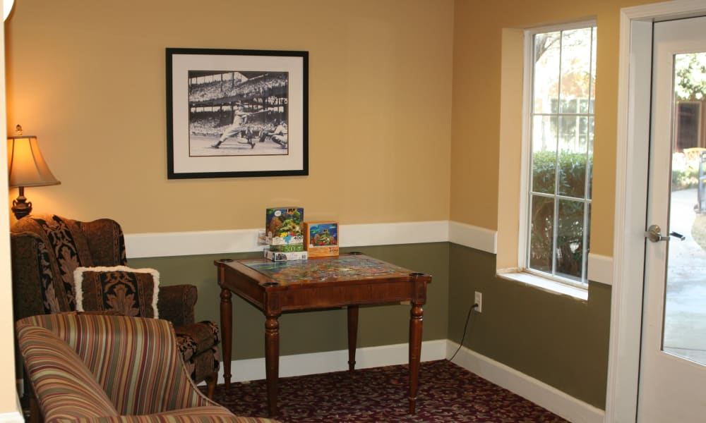 Model living room at Wildwood Canyon Villa Assisted Living and Memory Care in Yucaipa, California