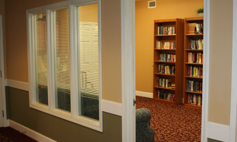 Communal library at Wildwood Canyon Villa Assisted Living and Memory Care in Yucaipa, California